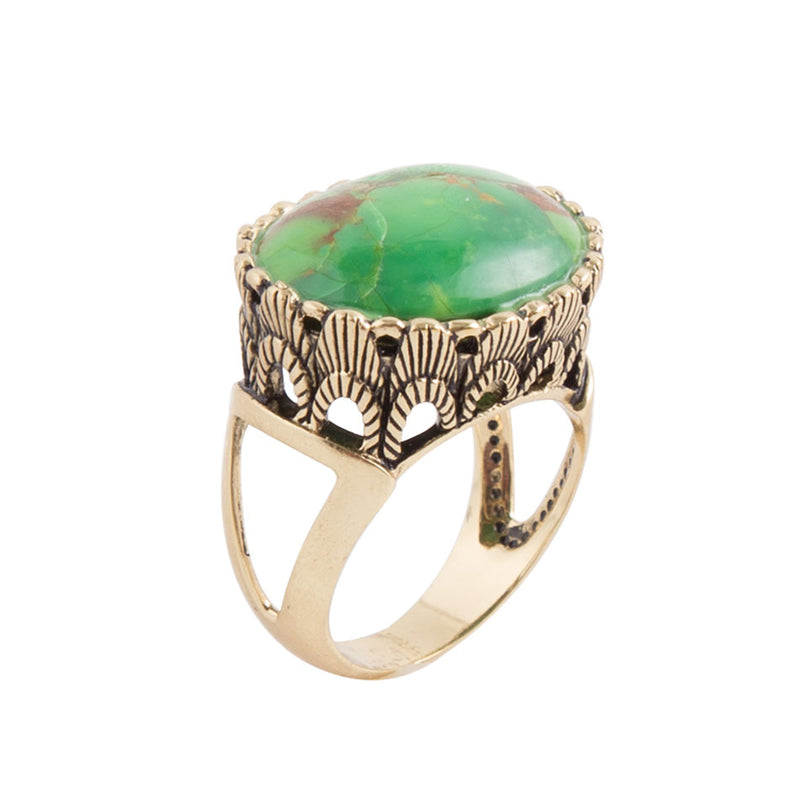 Scalloped Edge Lime Turquoise Ring