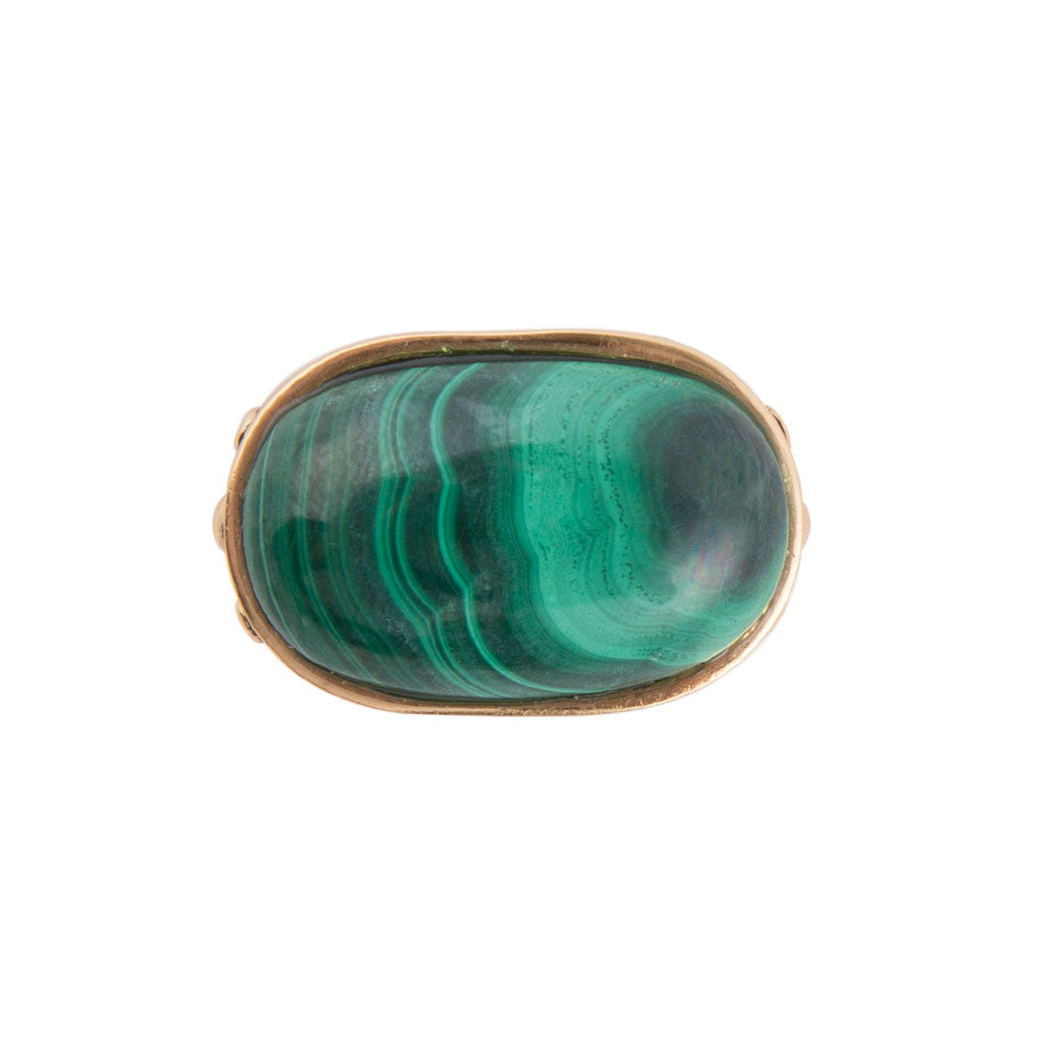 Green Malachite Oval Ring