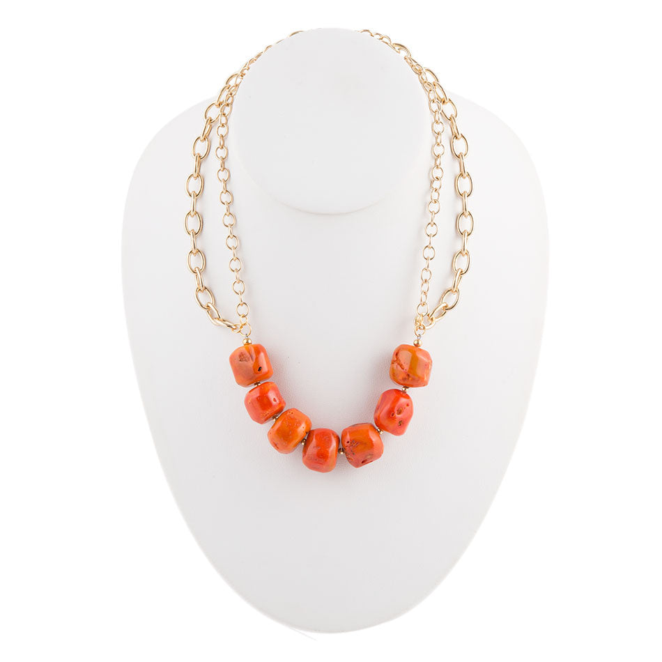 Orange Coral Bronze Necklace