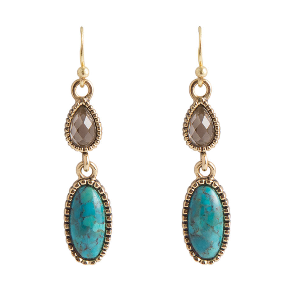 Smoky Quartz and Turquoise Drop Earring