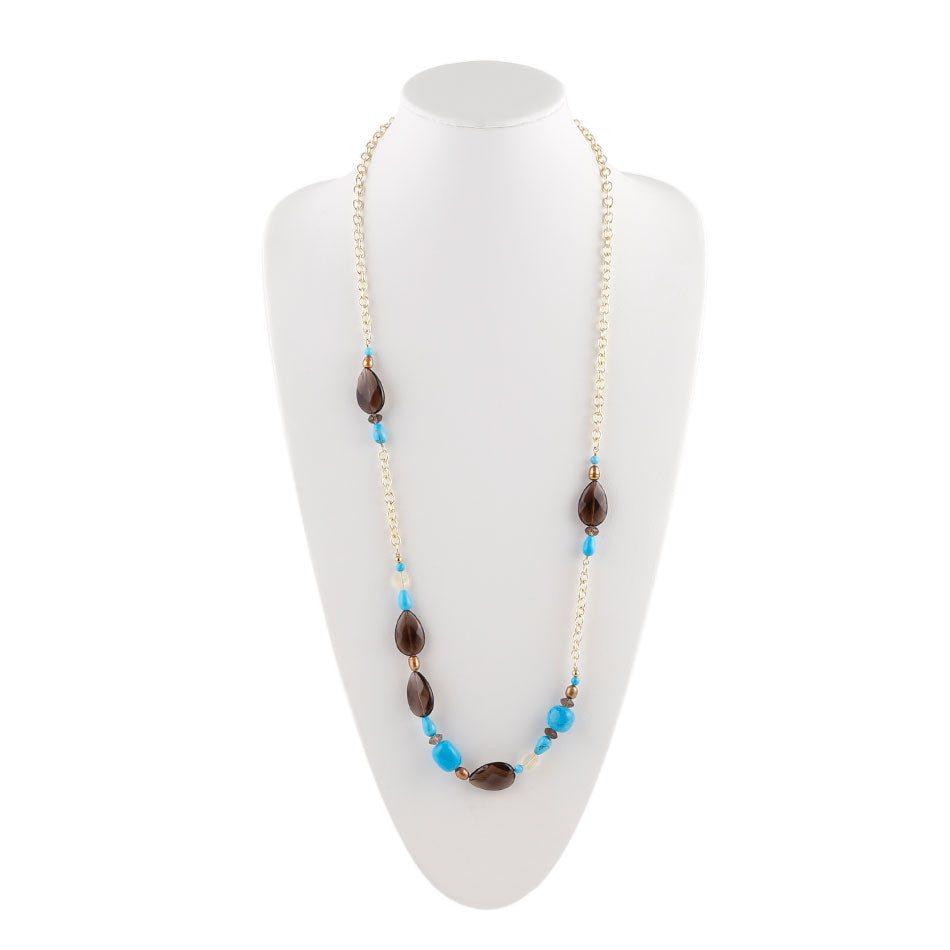 Smoky Quartz Turquoise Long Chain Necklace