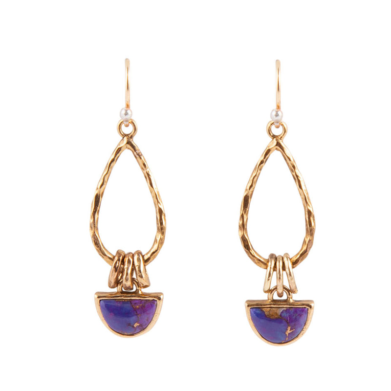Purple Turquoise and Spiny Oyster Crescent Earring