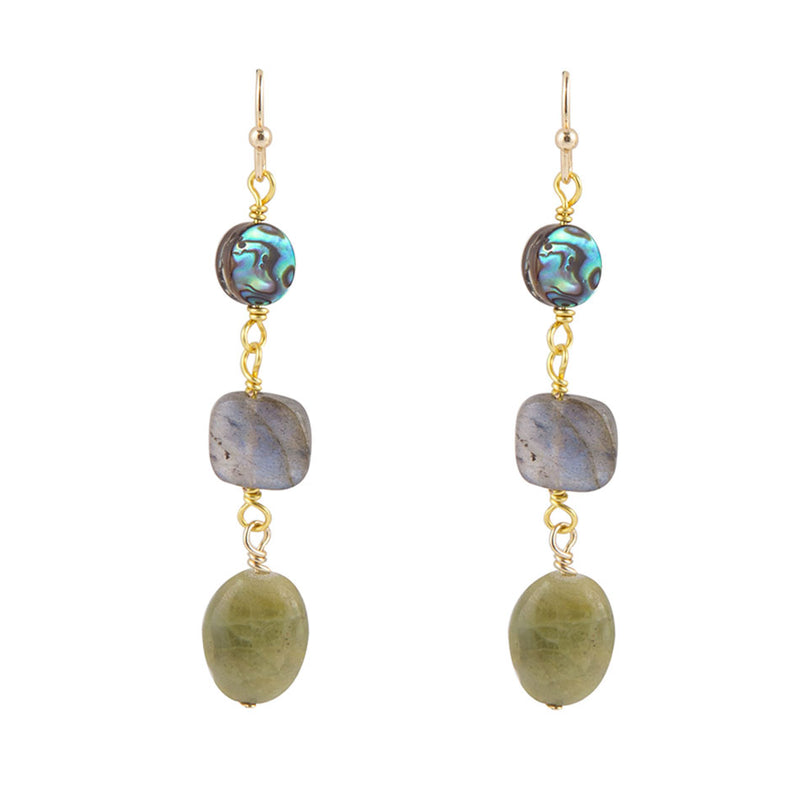 Grey and Green Drop Earring