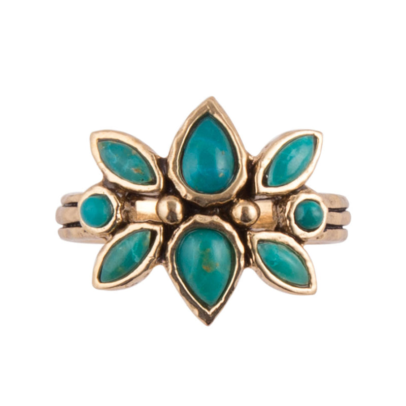 Chrysocolla Nordic Flower Ring