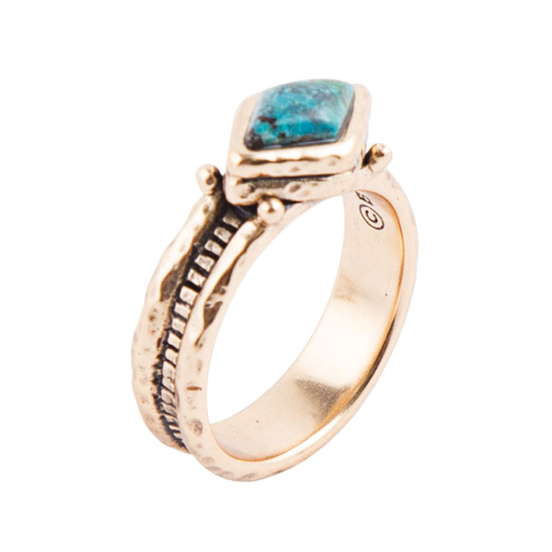 Chrysocolla Hammered Ring
