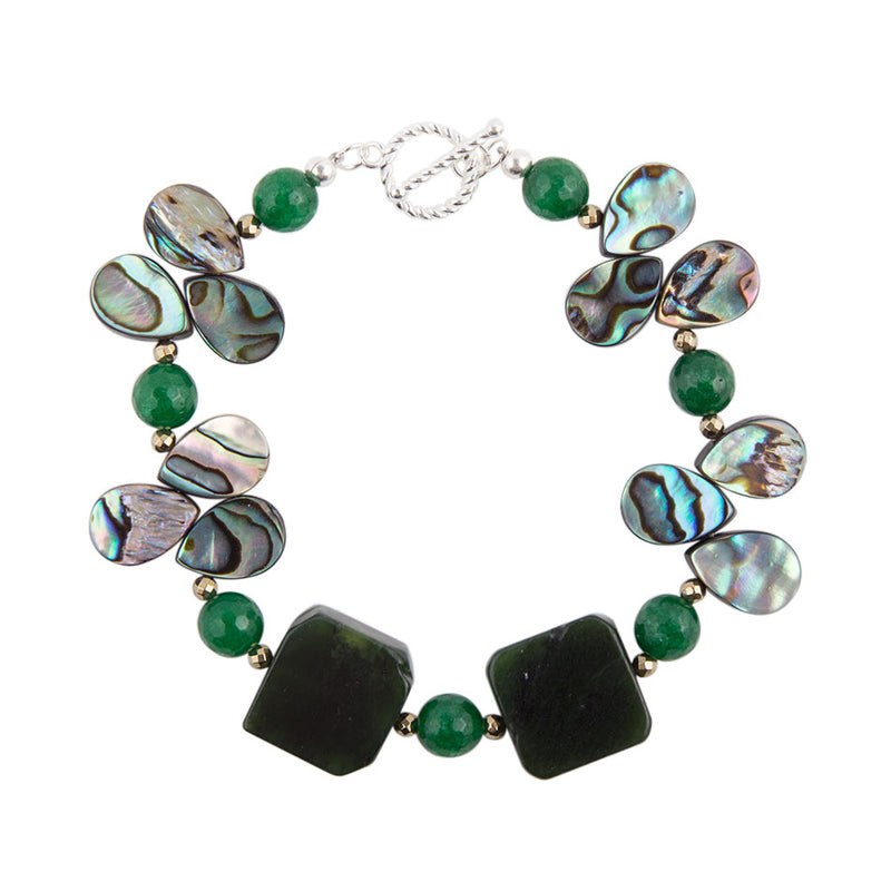 Winter Green Abalone Stretch Bracelet