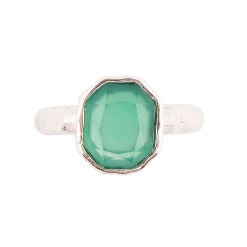 Hammered and Sterling Ring - Green Onyx