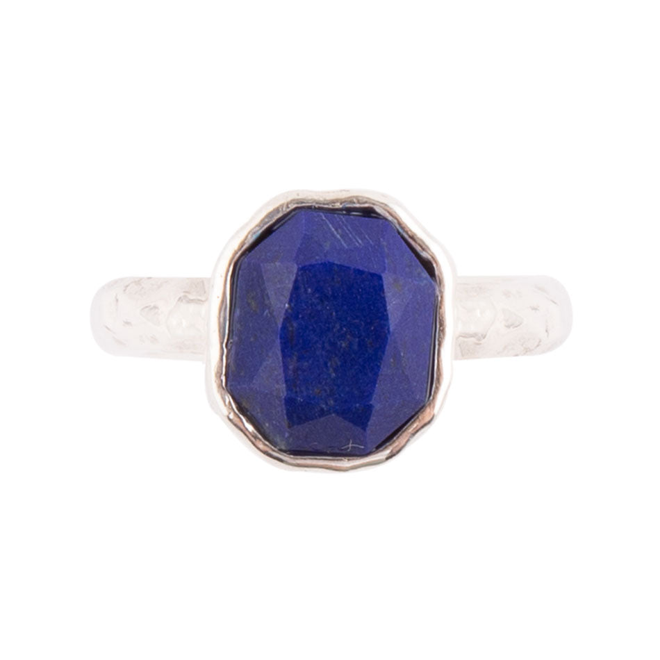 Hammered and Sterling Ring - Lapis