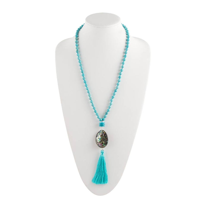 Teal Tassel and Abalone Necklace