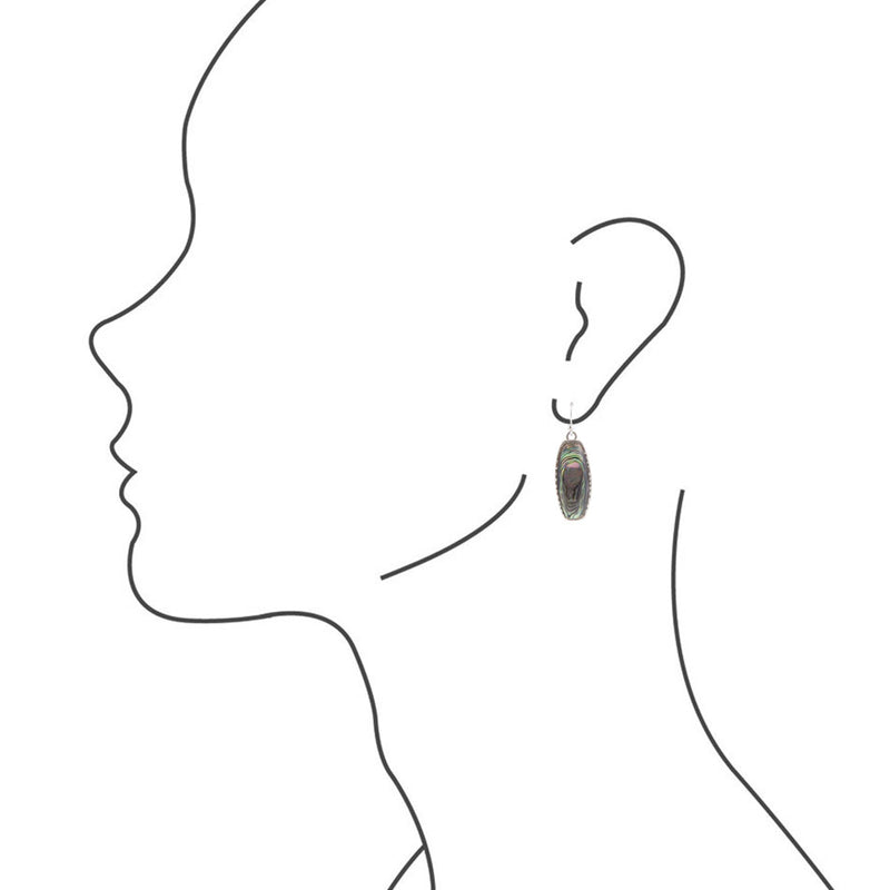 Long Silver Statement Earring - Abalone