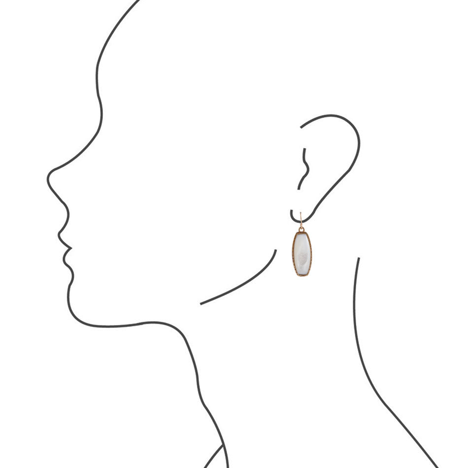 Long Bronze Statement Earring - Mother of Pearl