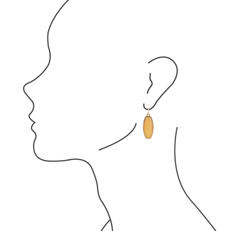 Long Bronze Statement Earring-Chalcedony