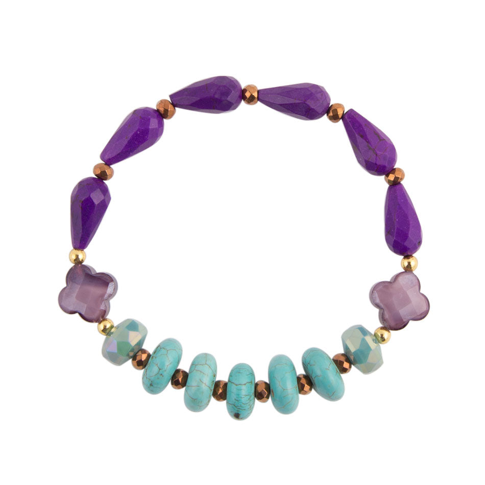 Purple Agate and Turquoise Bracelet