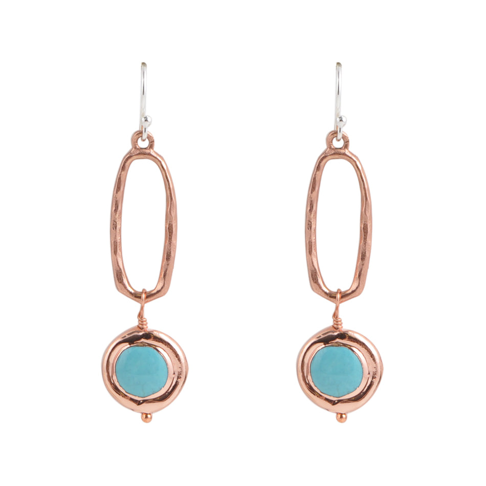 Turquoise and Copper Oval Drop Earring
