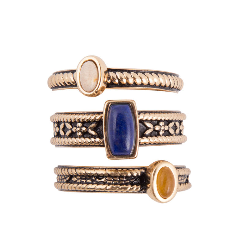 Triple Stack Lapis Ring - Bronze