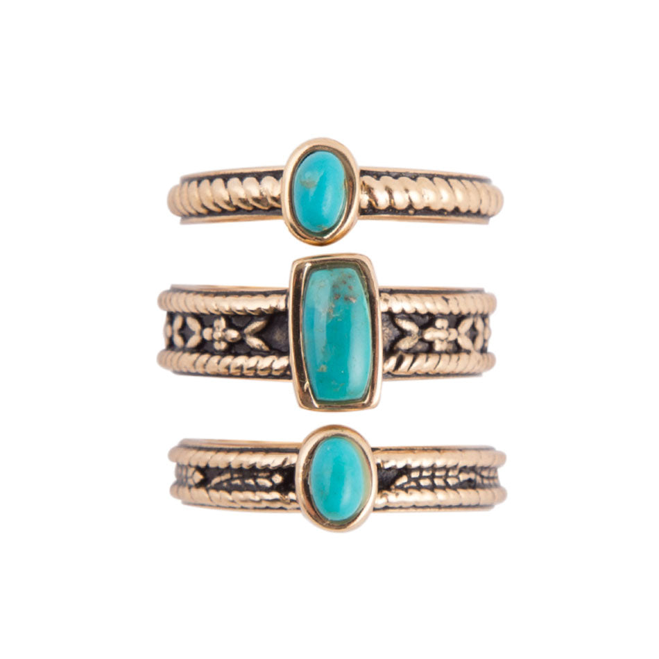 Triple Stack Turquoise Ring - Bronze