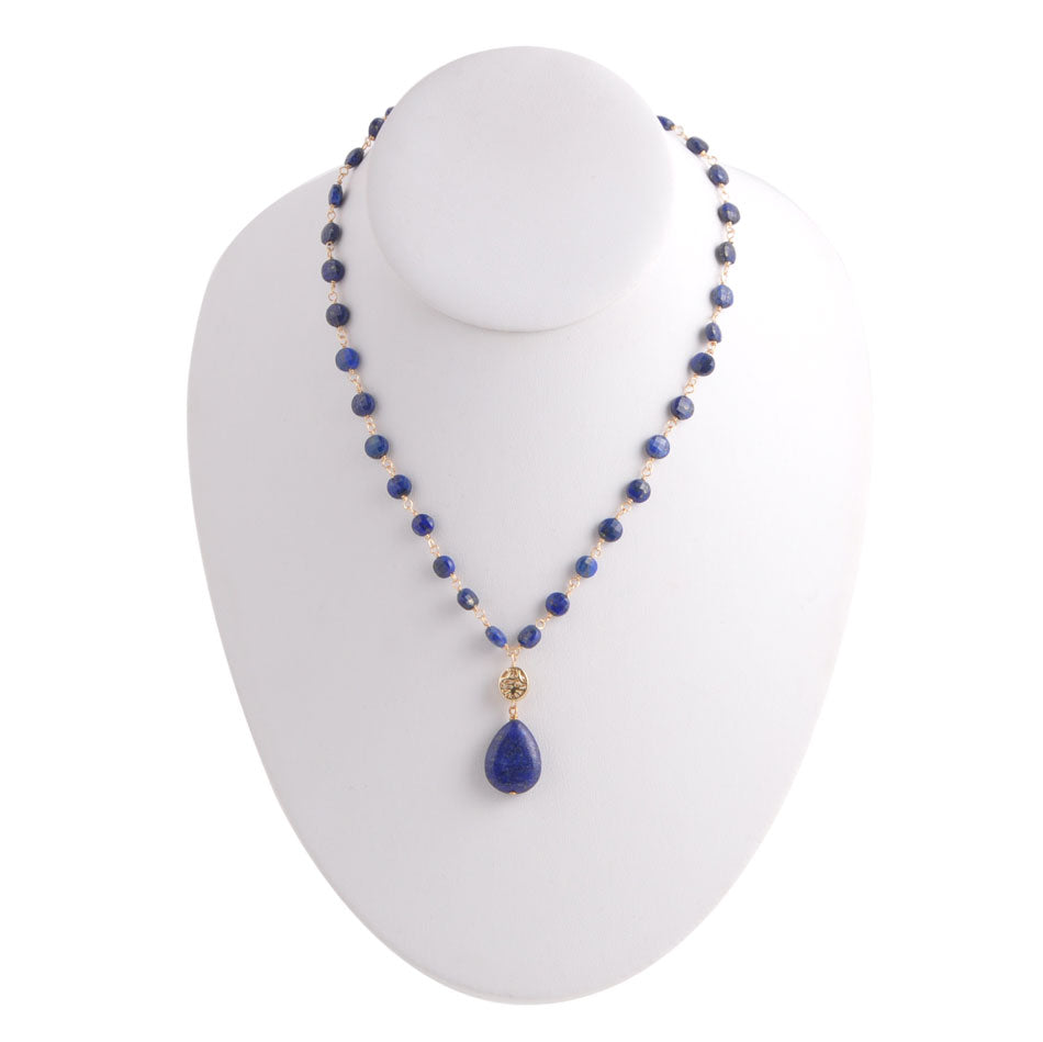 Deep Blue Drop Necklace