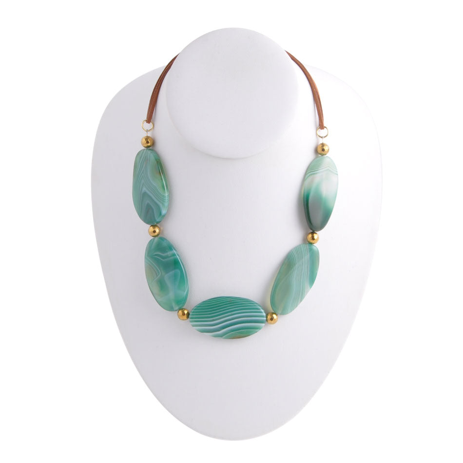 Green Waves Agate Necklace