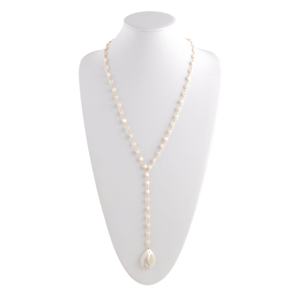 Mother of Pearl Rosary Necklace