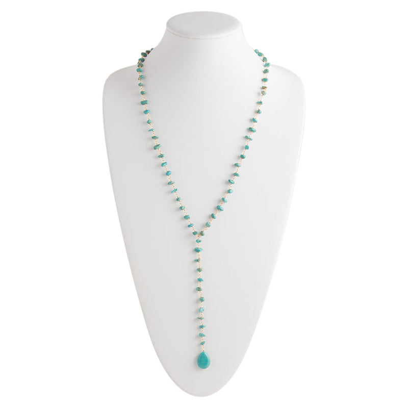 Turquoise Magnasite Rosary Necklace