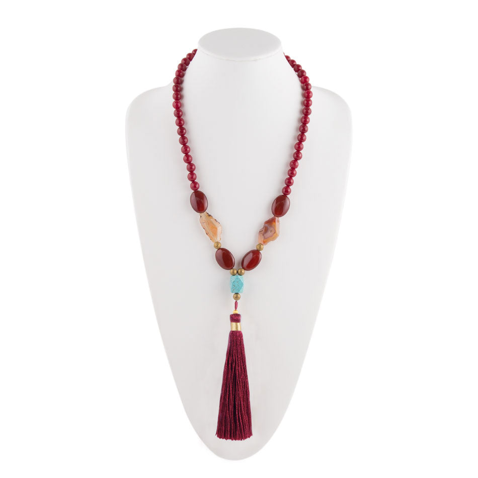 Bordeaux Quartz Tassel Necklace