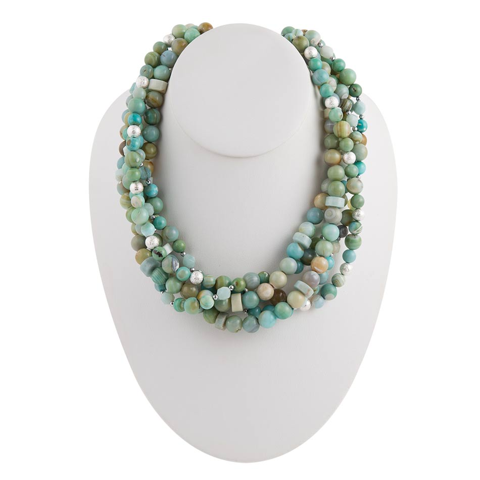 Multi-Strand Mint Necklace