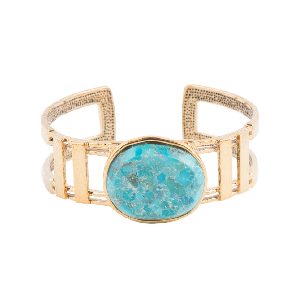 Silver Gold Plated Turquoise Cuff