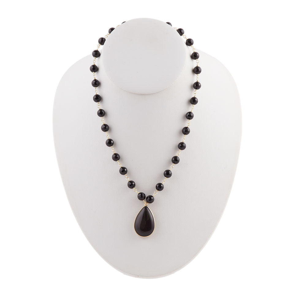 Black Onyx Tear Drop Necklace - Bronze