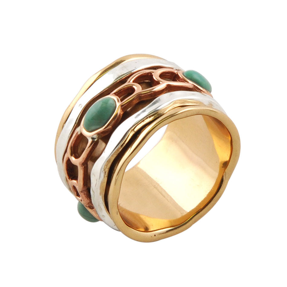 Multi-Metal and Turquoise Spinner Ring 4