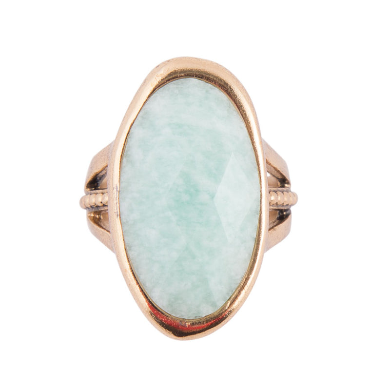Amazonite Bronze Oval Ring