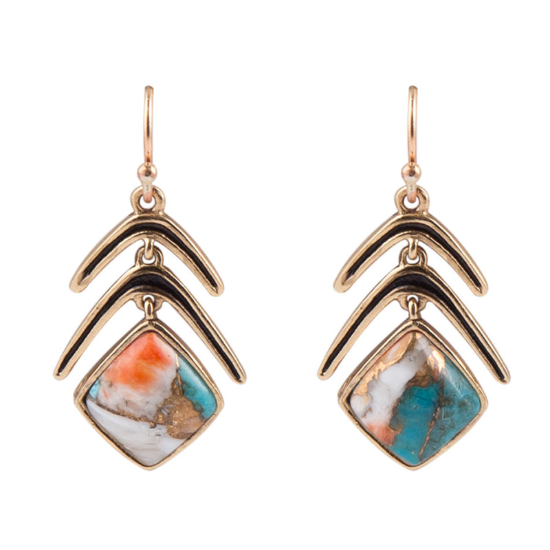 Spiny Oyster Double Arrow Earring