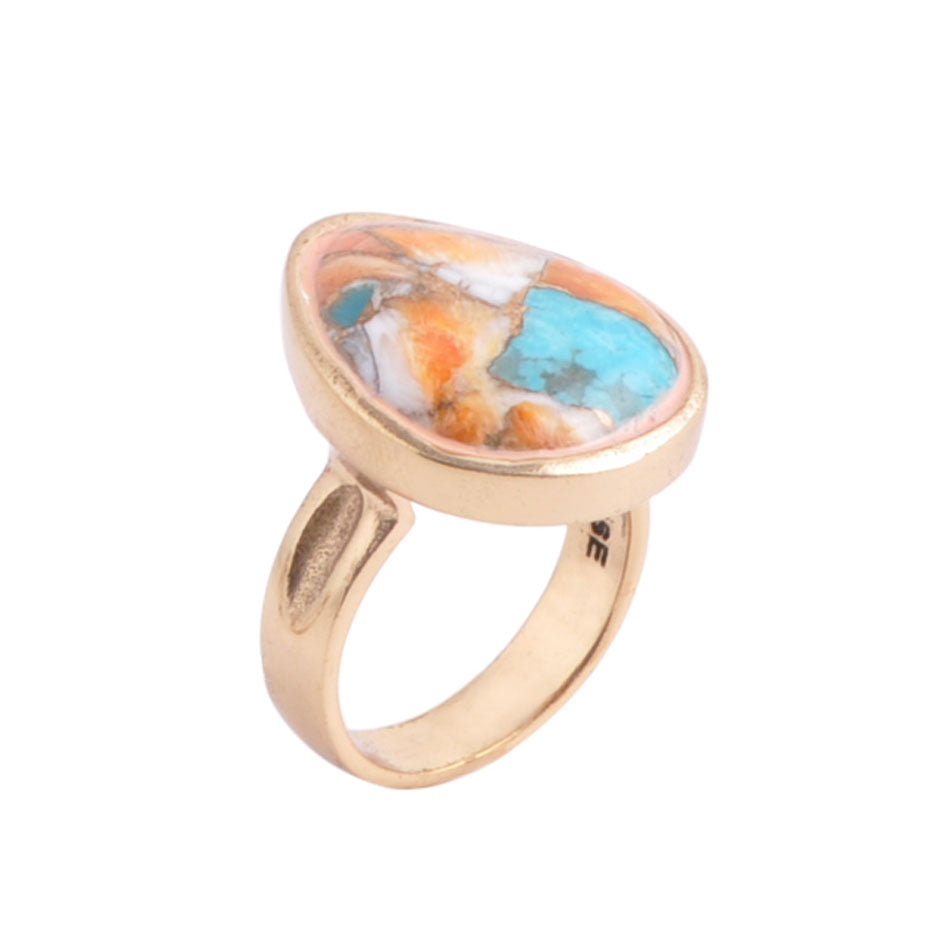 By George! Bronze and Spiny Oyster/Turquoise Ring