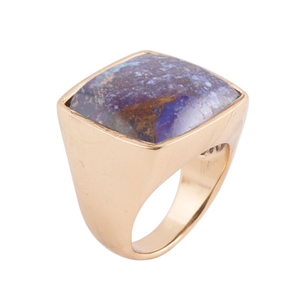 Square Purple Turquoise Bronze Ring