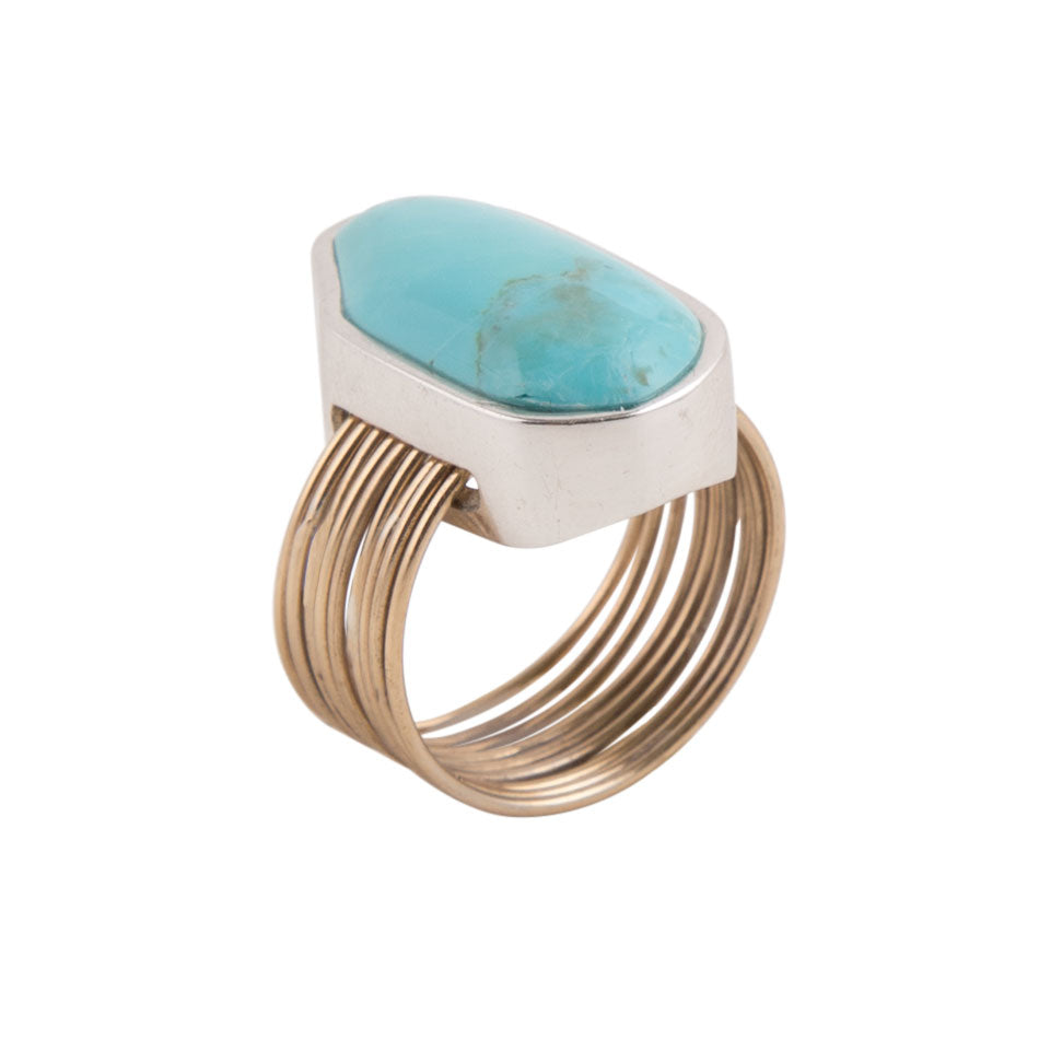 Turquoise and Two Metal Thread Ring