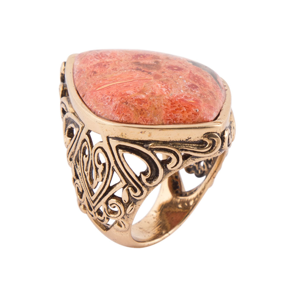Orange Sponge Coral Token Ring