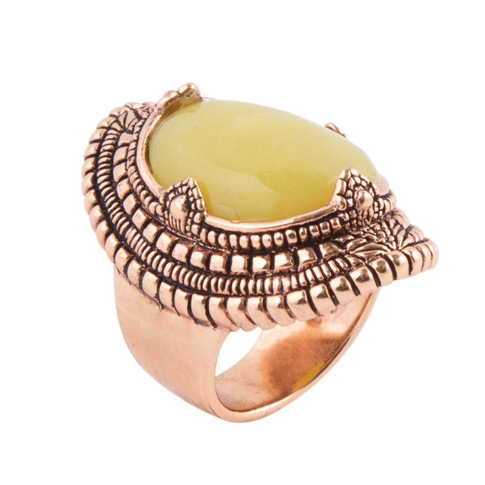 Curved Green Jasper Ring