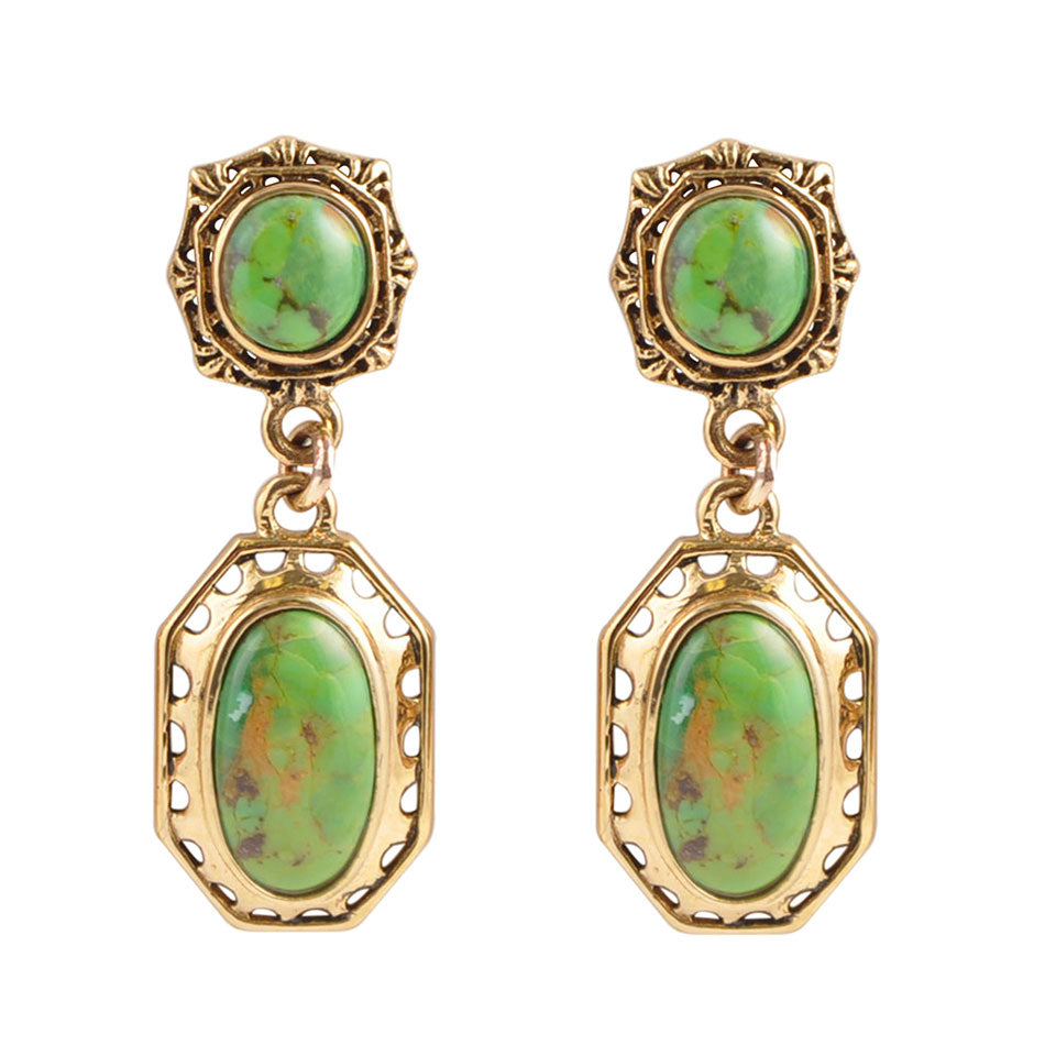 Vintage Style Lime Turquoise Earring