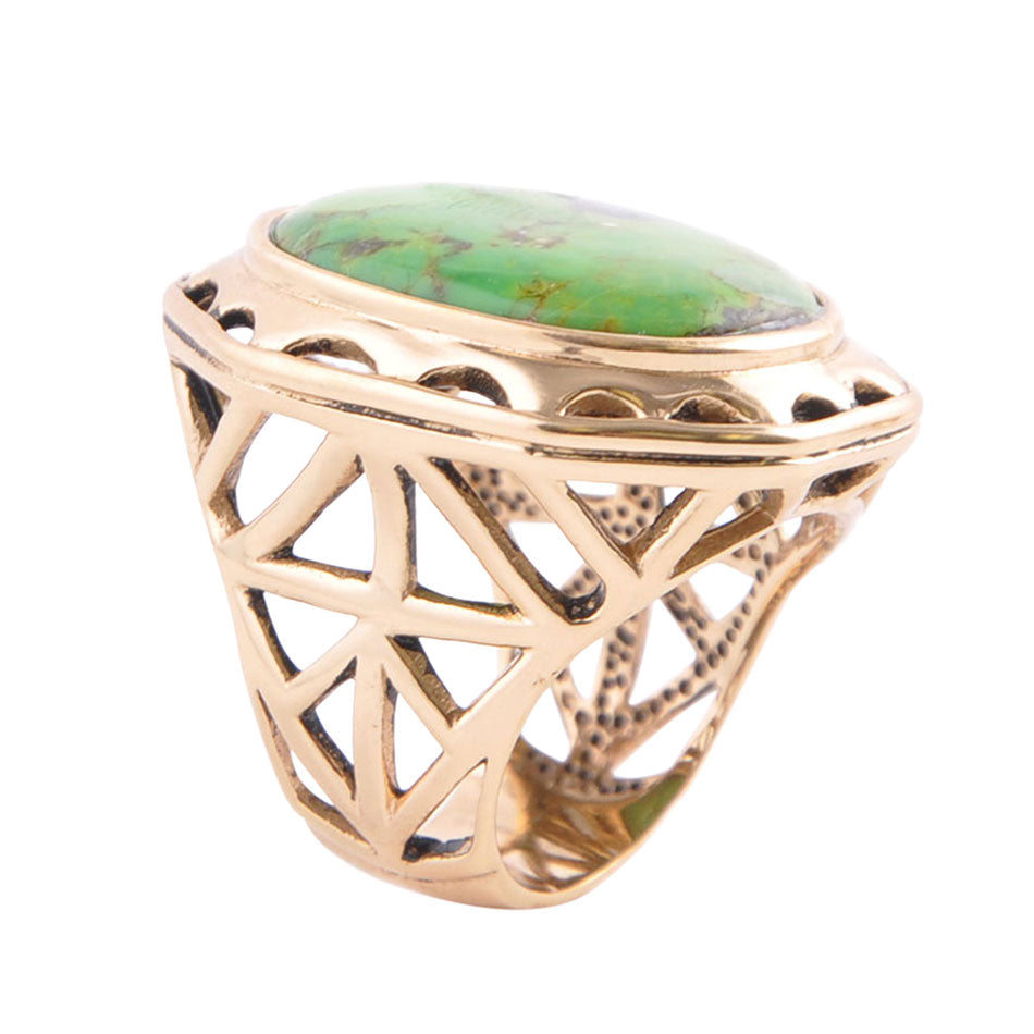 Oval Lime Turquoise Geometric Ring