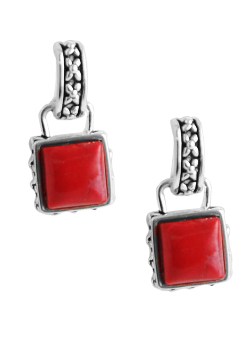 Petite Square Red Howlite Earring