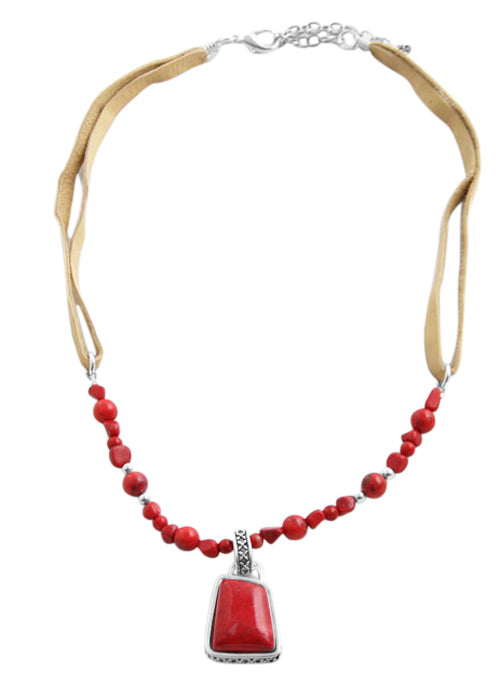Barse Red Howlite and Coral Leather Necklace