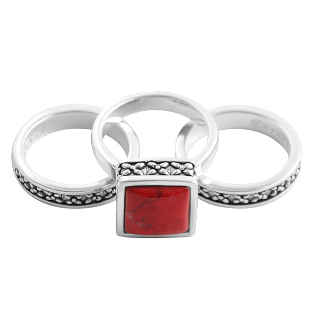 Red Howlite and Sterling Silver Stack Ring