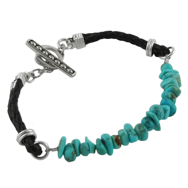 Turquoise Fragment and Leather Bracelet