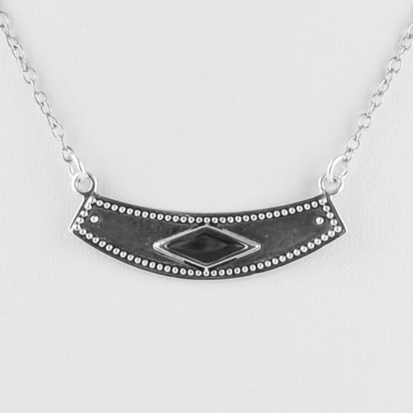 Silver Bar Black Pearl Necklace
