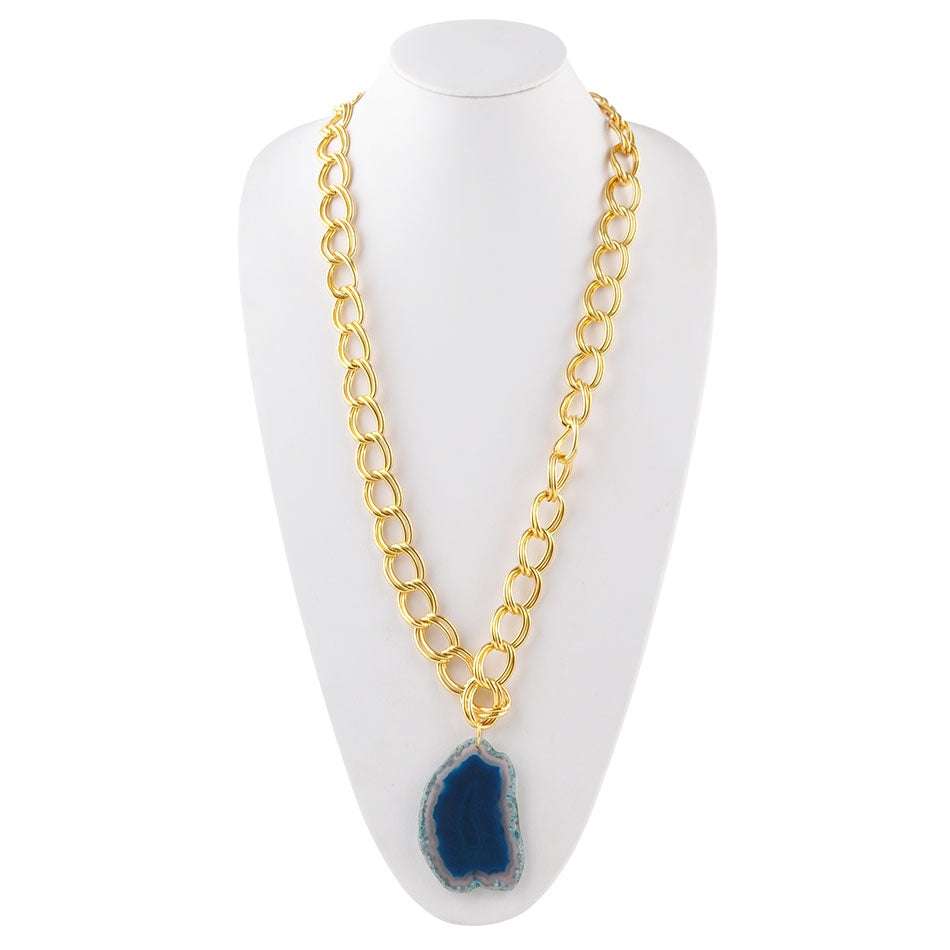 Agate Club Necklace-Blue Agate