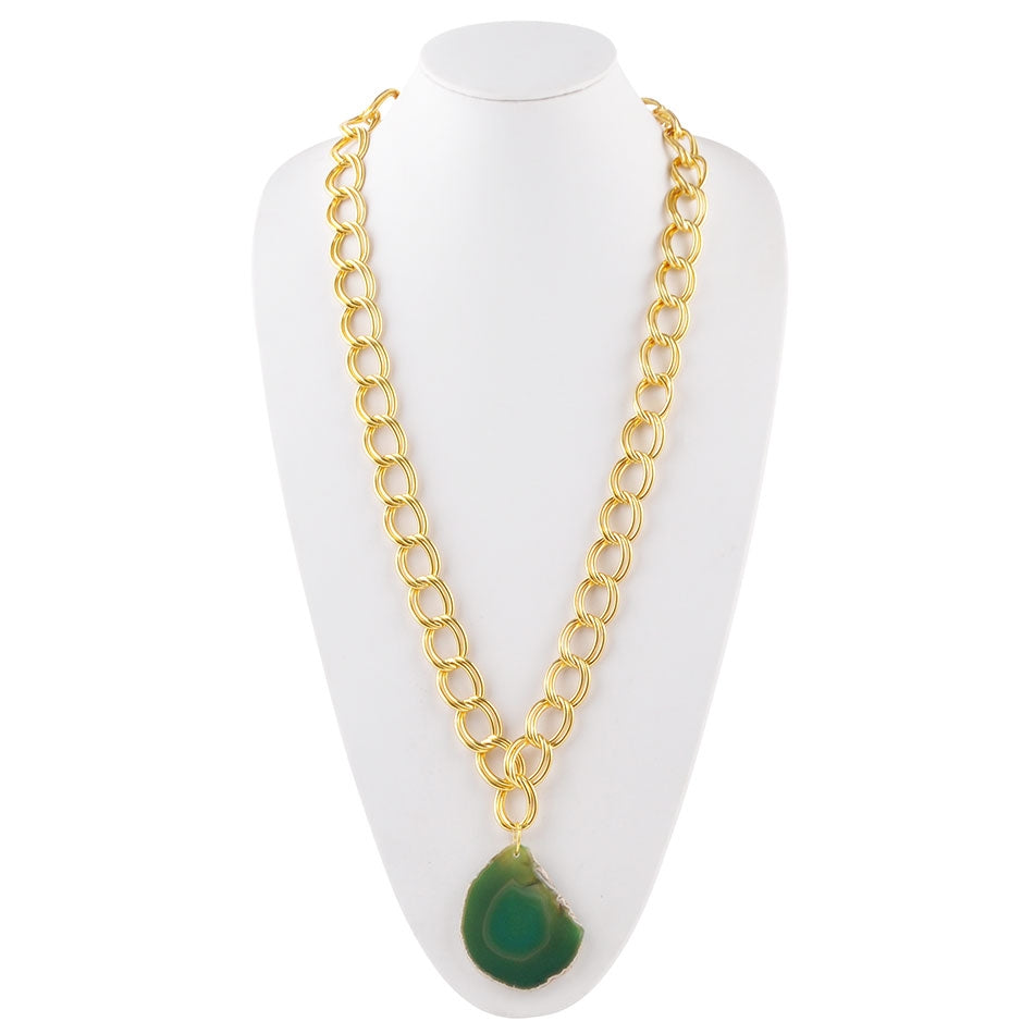 Agate Club Necklace-Green Agate