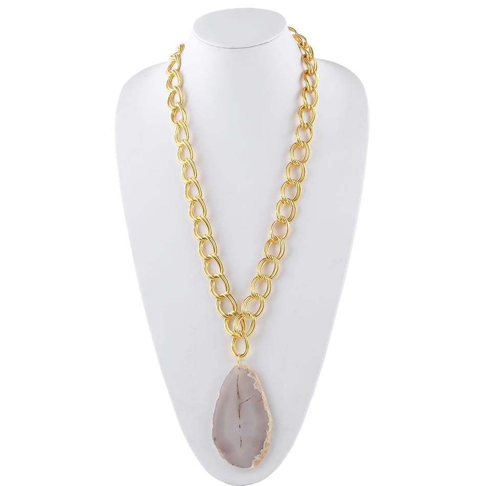 Agate Club Necklace-Grey Agate