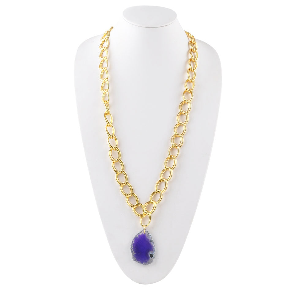Agate Club Necklace-Purple Agate