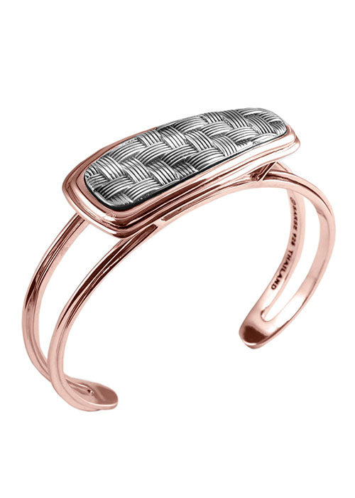 Basketweave Sterling and Copper Bracelet