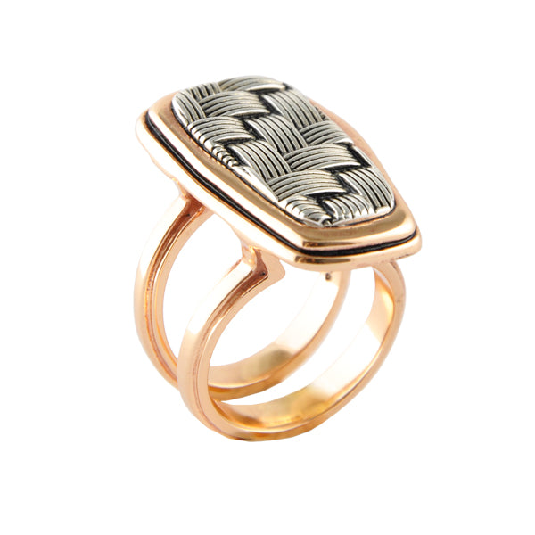 Sterling and Copper Basketweave Ring
