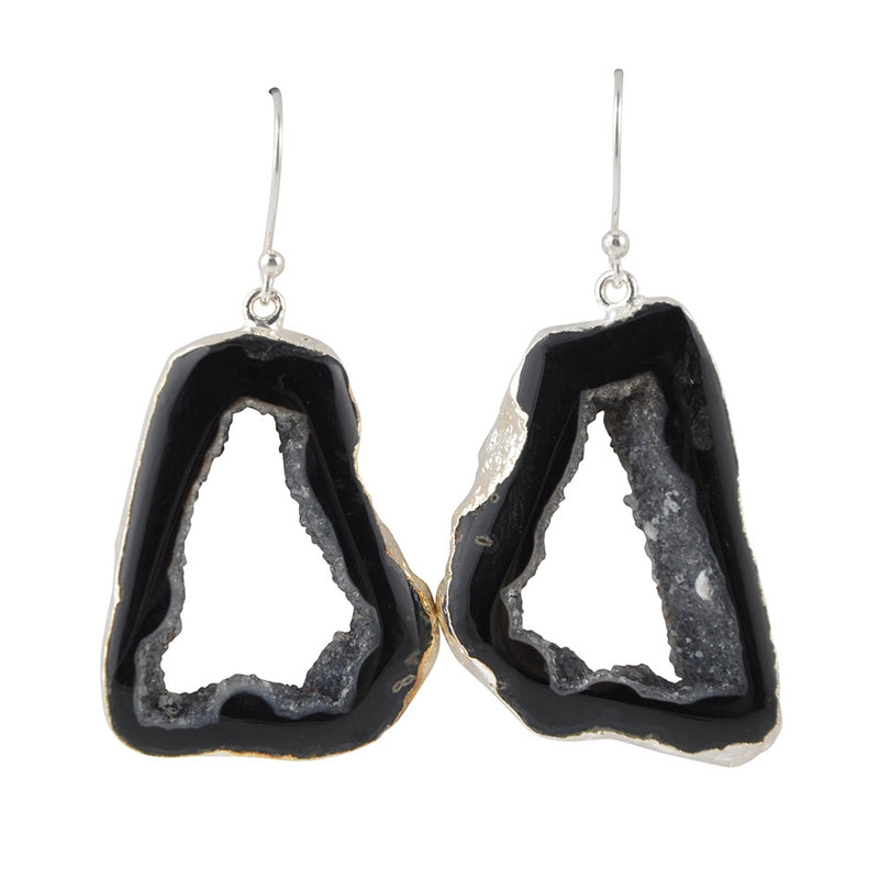 Freeform Drusy Agate Earring-Black